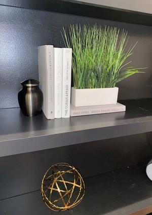 black built ins decor, white books decorative staging ideas