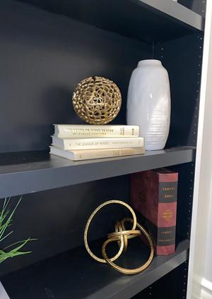 Black built-in shelf decor ideas