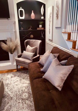 sofa and pillow decor gray pampas grass in white vase staging idea