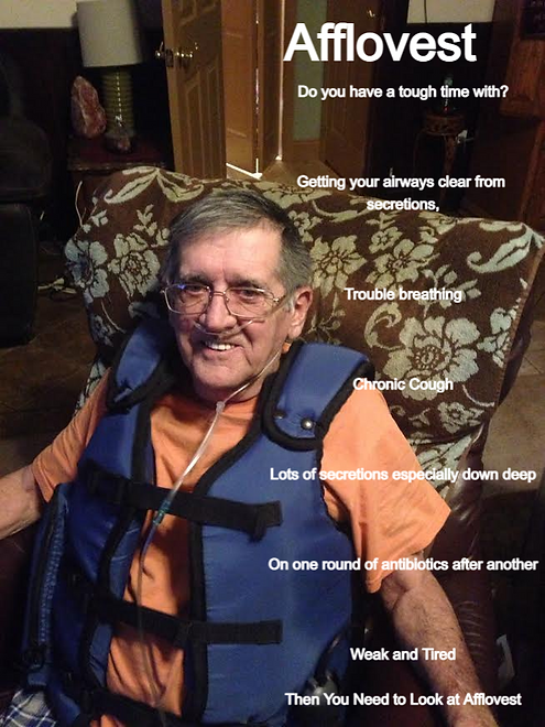 patient wearing Afflovest airway clearance device