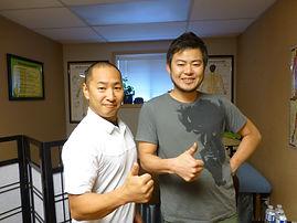 Junya Nakamura, owner of Wasabi restaurnt and Keita Ociai, shiatsupractor