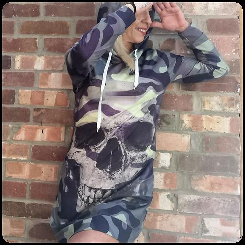 Long Sleeve Camo Skull Dress Hoodie