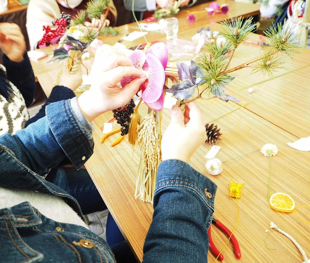 豊田市花屋グリーンピースでしめ縄作り