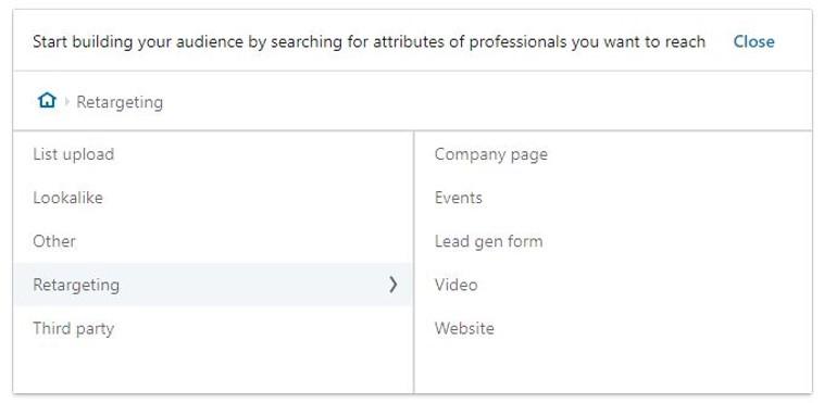 elenco dei pubblici sui quali puoi fare retargeting in Linkedin