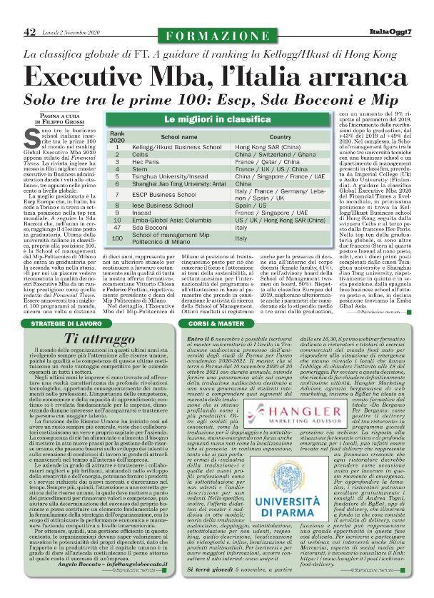articolo di Italia Oggi sul webinar del 5 novembre sul delivery
