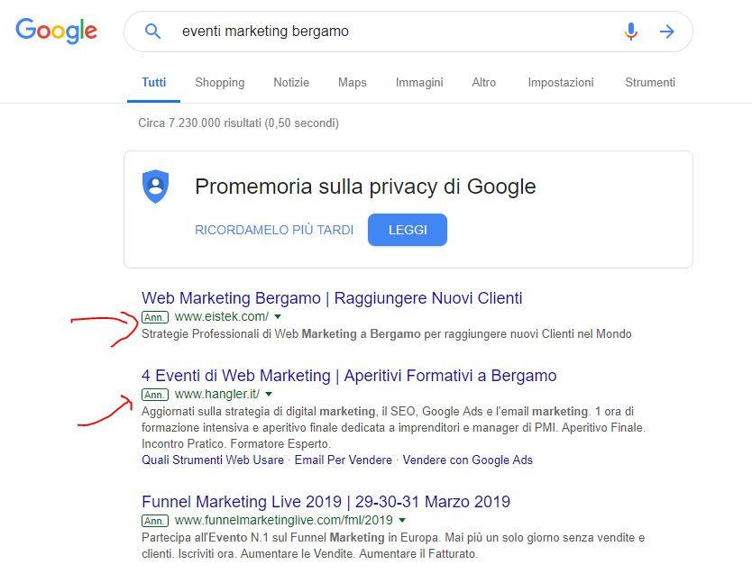 esempio serp google ads