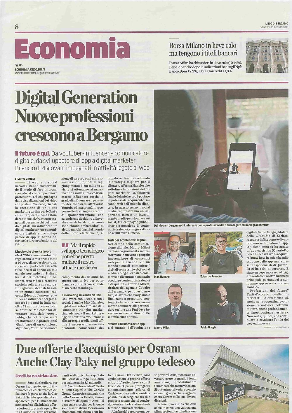 articolo con Massimiliano Hangler su Eco di Bergamo