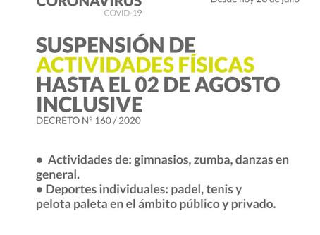 Suspensión de actividades físicas