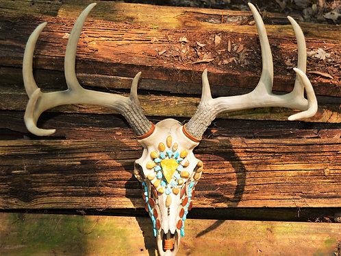 Turquoise Deer Skull