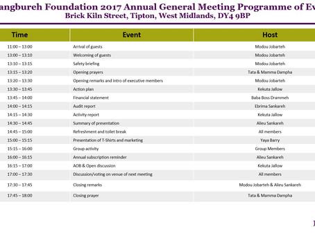 JJB Foundation AGM Saturday 5th August