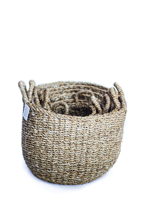 XL Round Seagrass Cylinder Basket With Top Handles