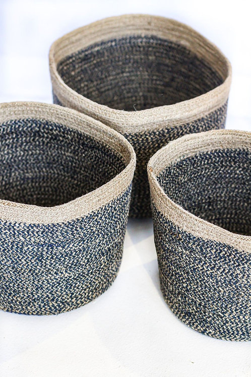 Small Charcoal Round Cylinder Basket