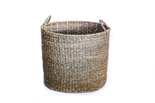 Small Seagrass Round Cylinder Basket With Top Handles and Metal Inner
