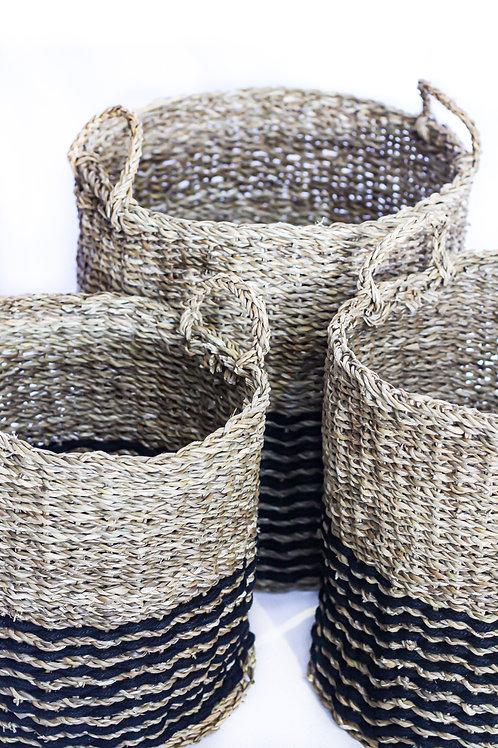 Medium Cylinder Basket - Black & Neutral