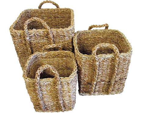 Large Square Seagrass Planter Basket With Top Handles