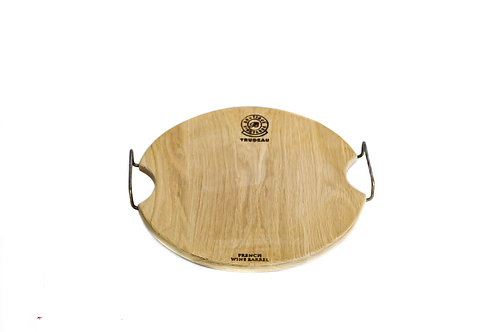 Small Round Oak Board with Metal Handles