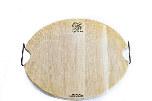 Oak Oval Board with Metal Handles