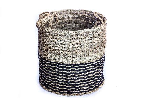 Large Round Cylinder Basket - Black & Neutral