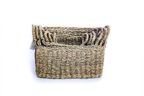 Medium Seagrass Rectangular Kitchen Basket With Top Handles