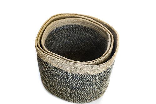 Charcoal Round Cylinder Basket Set of 3