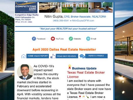 Just Published: April 2020 Dallas Real Estate Newsletter