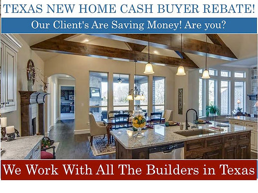 DFW new homes in Dallas, Fort Worth, builders, model homes and deals. Cash rebates on new DFW real estate, New home listings in Dallas, Texas. Get new home rebates, view photos, stats. Save thousands on your next purchase by getting new home rebate discount and cashback, get the highest rebate with any new home builder in the state of Texas including Dallas, Forth Worth, Houston, Austin, San Antonio, Waco , We credit buyers 2.5% of the total sale price on new construction homes from builders, Receive New Home Rebates, Incentives, Discounts  on select Dallas Ft Worth New Construction Builder Homes, Condos, Townhomes, Lofts, Highrises. Search Dallas New Homes by builder, zipcode, city, address, school district, subdivision or New Map, new home buyer's rebate, new home cash back, new build home cashback, new construction home buyer's rebate