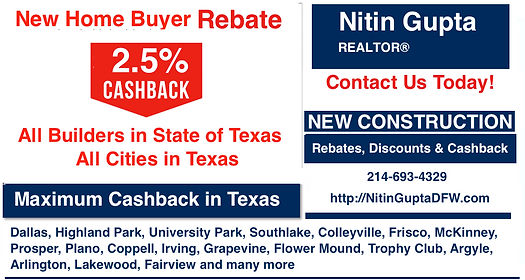 2.5% Cash Back to buyer, Houston   Broker gives buyers 2.5% Cash Back rebate on new homes from any builder in the Houston area or anywhere in Texas. Cash back new builds, Get thousands at closing, Costs buyer nothing, We share commissions with buyers, Cash back at closing. , Maximum Cashback Realtor Real Estate Age