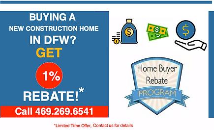 1% rebate New Construction homes Dallas