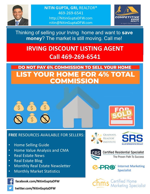 Irving Texas Discount Listing Agent Real