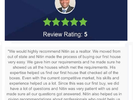 Another 5-Star Zillow review from a first time home buyer client! | Nitin Gupta, REALTOR