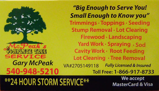 McPeaks Tree and Landscaping, Contact information, Location, Services