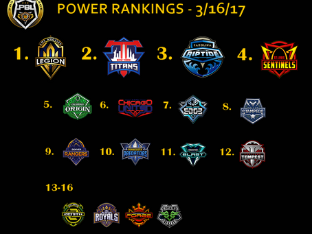NEW POWER RANKINGS 3/16/17