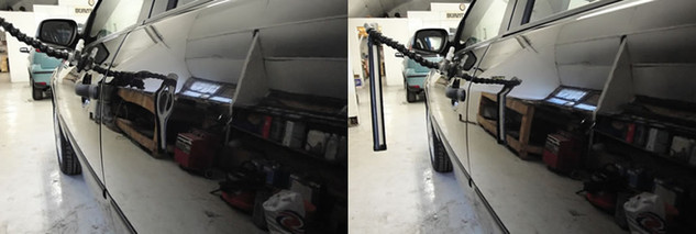 Motor vehicle before and after