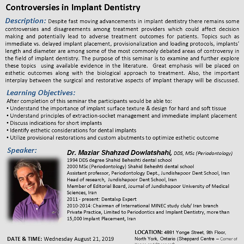 Controversies in Implant Dentistry