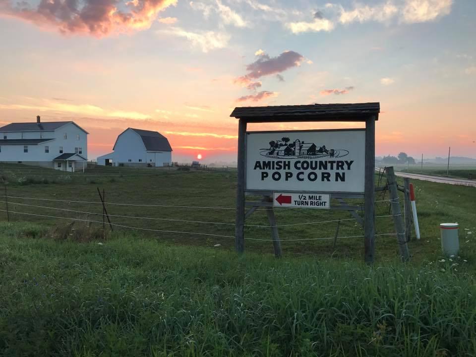 the sun setting behind the Amish Family Popcorn farm