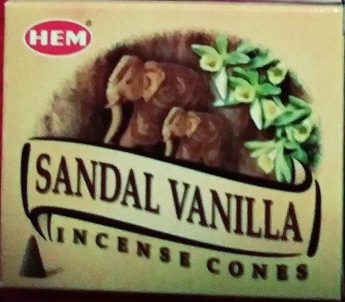 Sandal Vanilla incense cones