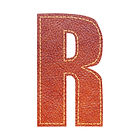 Alphabet R, leather texture isolated on