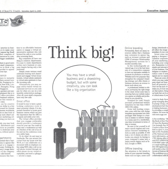 Rudy Pierre Low's Article on Straits Time