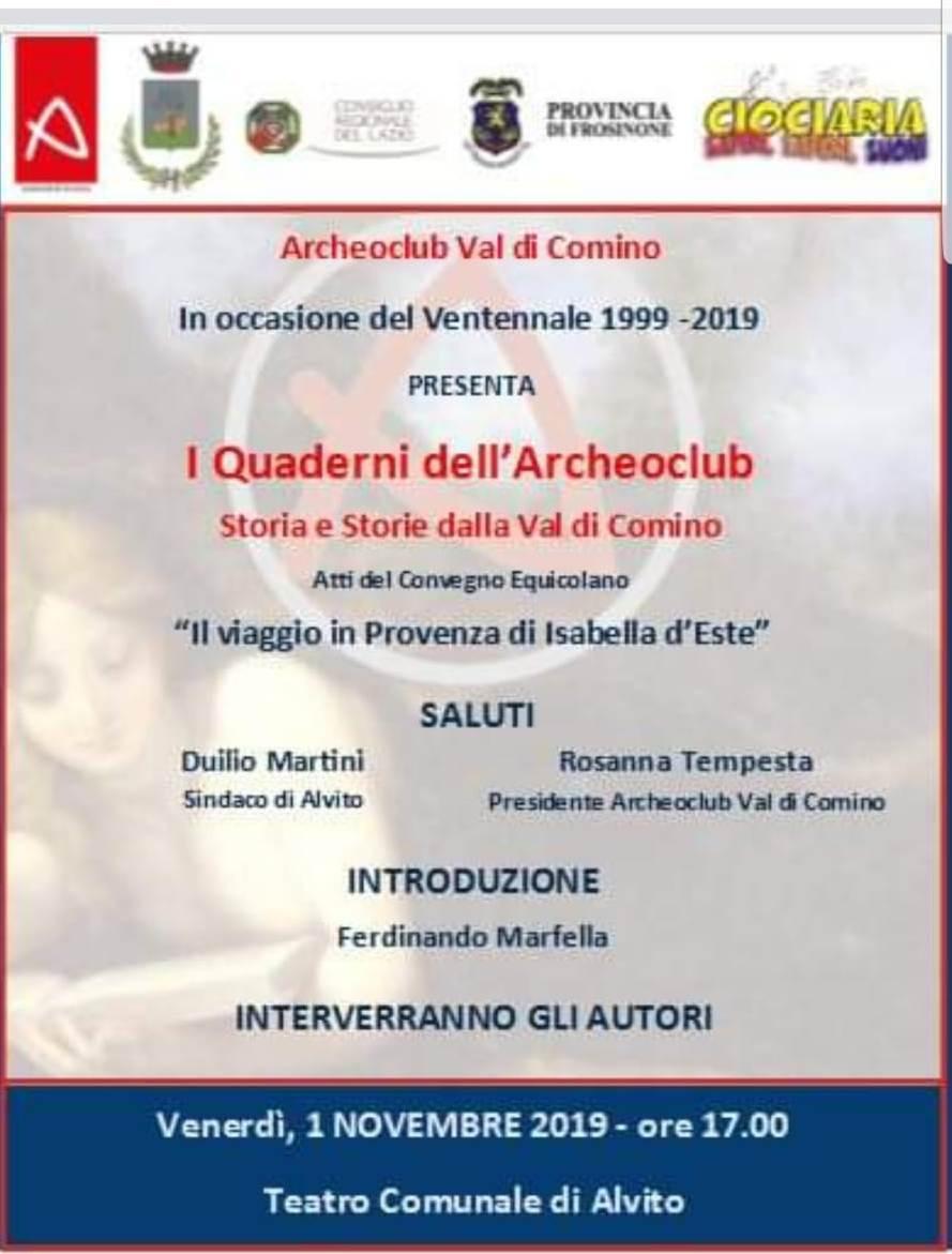 Quaderni dell'archeoclub, Alvito, San Donato, Convegni, Presentazione Libro