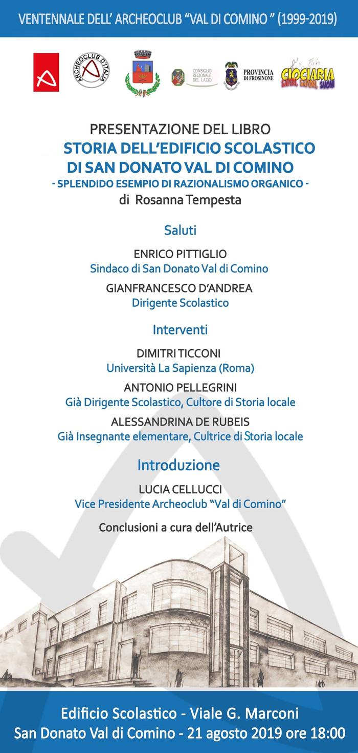 """Presentazione del libro """"Storia dell'Edificio scolastico di San Donato Val di Comino, splendido esem"""