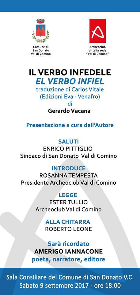 """Presentazione del libro """"Il Verbo Infedele"""" di Gerardo Vacana"""