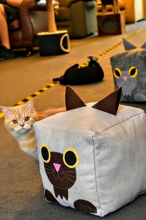Cat cube cushion, large