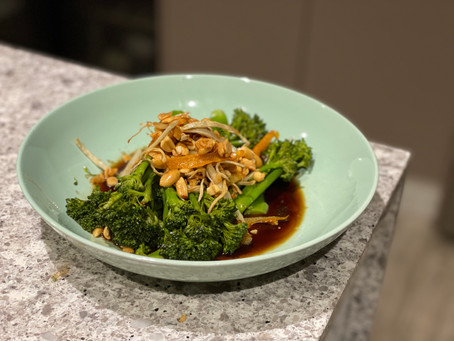Broccolini with soy, garlic and peanuts