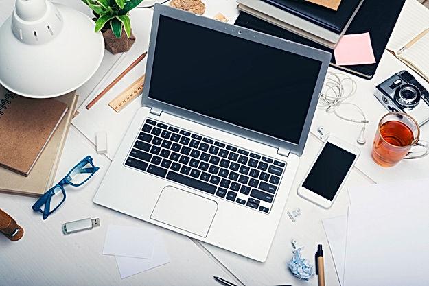 laptop, phone, camera, stationary