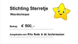 Stichting Sterretje donatie Rita Bode