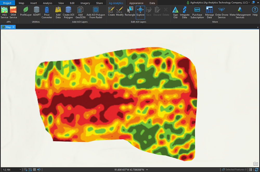 This is a profit map of a field presented on ArcGIS Pro.