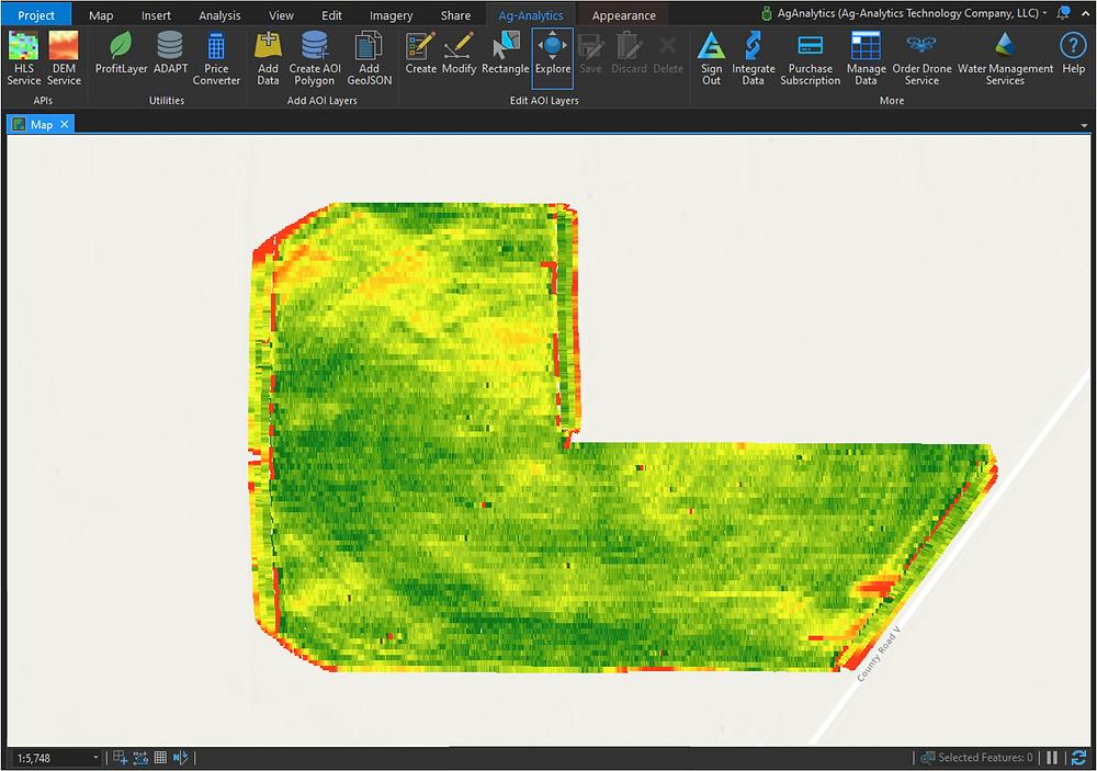 Precision data for field operations analyzed on the ArcGIS Pro desktop platform.