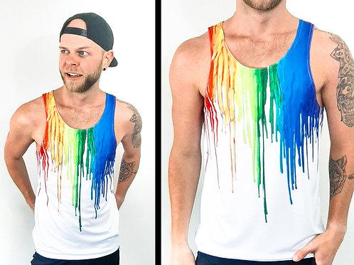 Pride Rainbow Drip White Tank Top