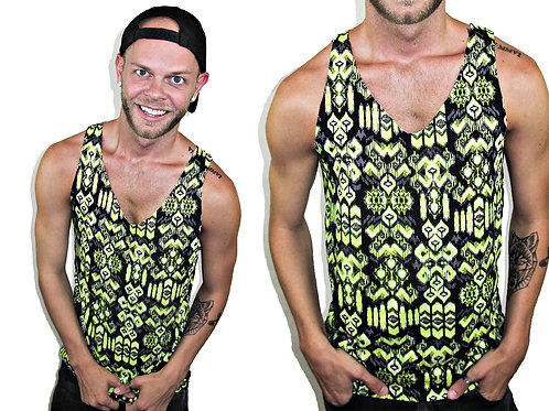 MY Green and Black Tribal Tank Top