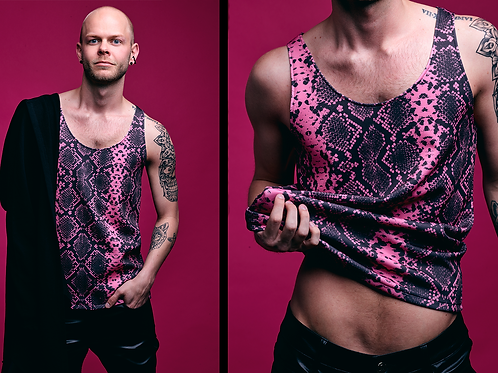 VYCE Pink Snake Print Tank Top